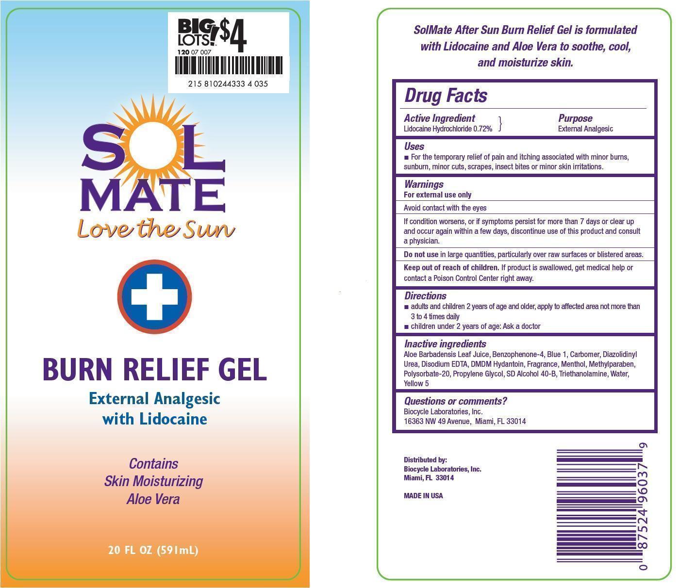 Solmate Burn Relief Gel (Lidocaine Hydrochloride) Gel [Prime Enterprises, Inc.]