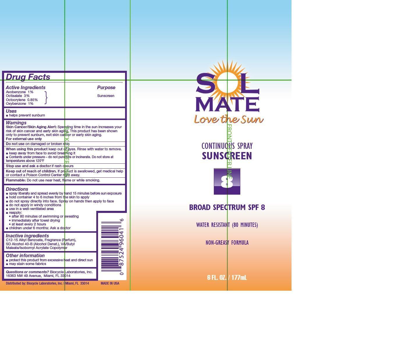 Solmate Broad Spectrum Spf 8 (Avobenzone, Octisalate, Octocrylene, And Oxybenzone) Aerosol, Spray [Prime Packaging, Inc.]