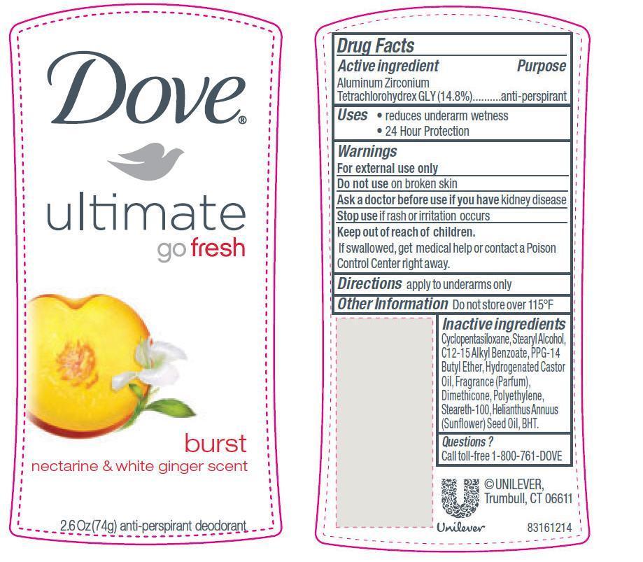 Dove Ultimate Go Fresh Burst Antiperspirant And Deodorant (Aluminum Zirconium Tetrachlorohydrex Gly) Stick [Conopco Inc. D/b/a Unilever]