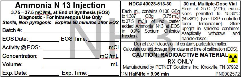Ammonia N 13 (Ammonia N-13) Injection [Petnet Solutions, Inc.]