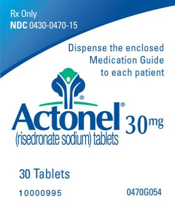 PRINCIPAL DISPLAY PANEL Rx Only NDC 0430-0470-15 Actonel (risedronate sodium) tablets 30 mg 30 Tablets