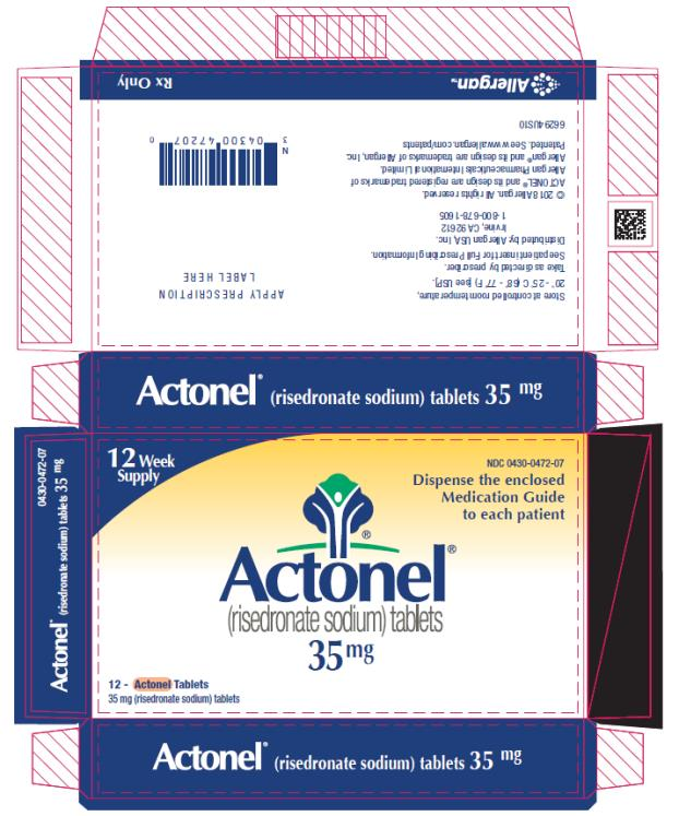 PRINCIPAL DISPLAY PANEL NDC 0430-0472-07 Actonel (risedronate sodium) tablets 35 mg 12 Week Supply Rx Only