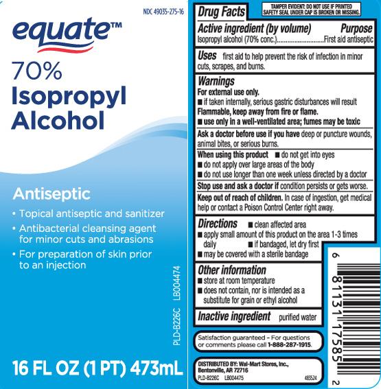 Isopropyl Alcohol 70 Percent (Isopropyl Alcohol) Liquid [Equate (Walmart Stores, Inc.)]