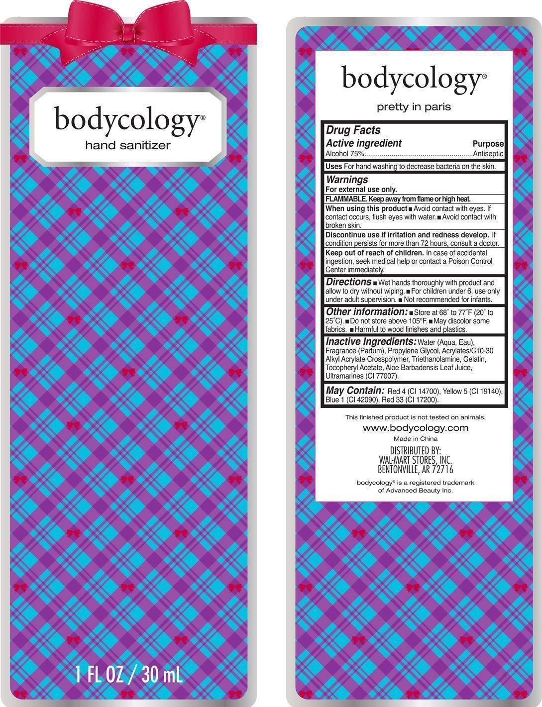 Pretty In Paris Hand Sanitizer Bodycology (Alcohol) Liquid [Wal-mart Stores Inc]