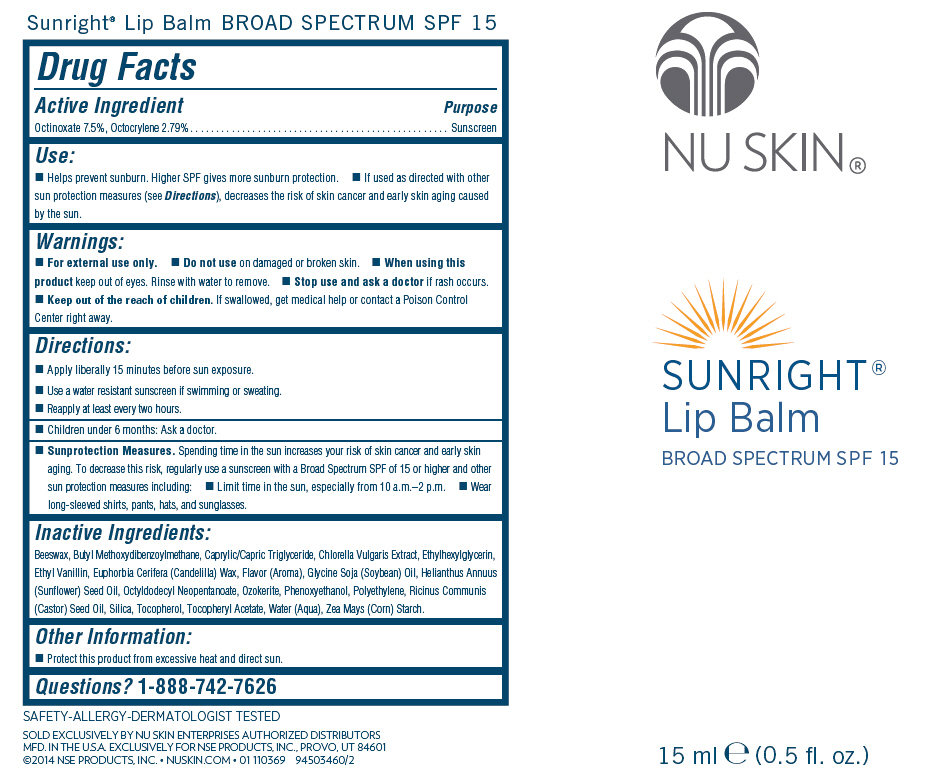Nu Skin Sunright Lip Balm Broad Spectrum Spf 15 (Octinoxate And Octocrylene) Stick [Nse Products, Inc.]