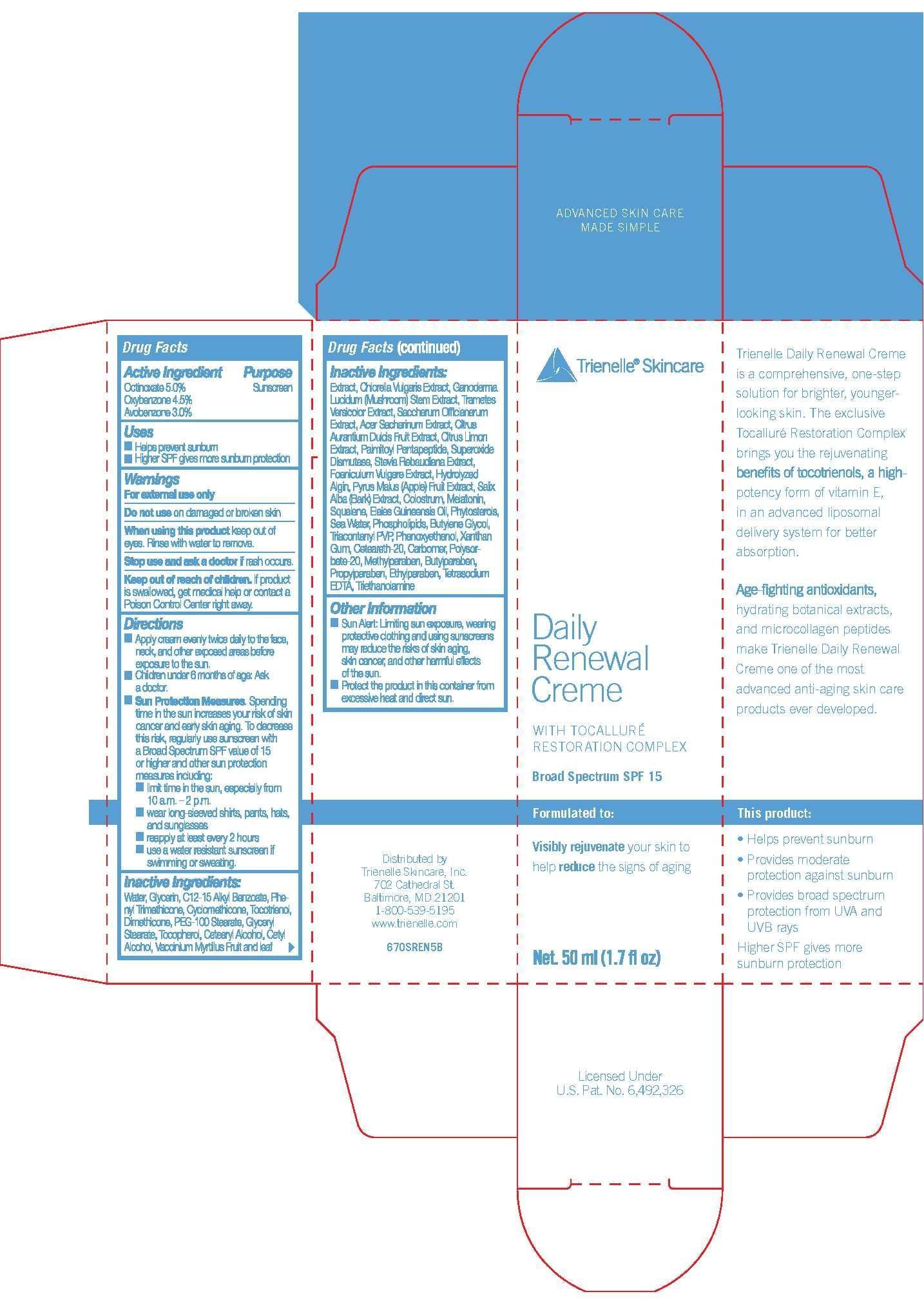 Trienelle Skincare Daily Renewal Creme With Tocallure Restoration Complex Broad Spectrum Spf 15 (Octinoxate 5%, Oxybezone 4.5%, Avobenzone 3%) Cream [Newmarket Health Products Llc]