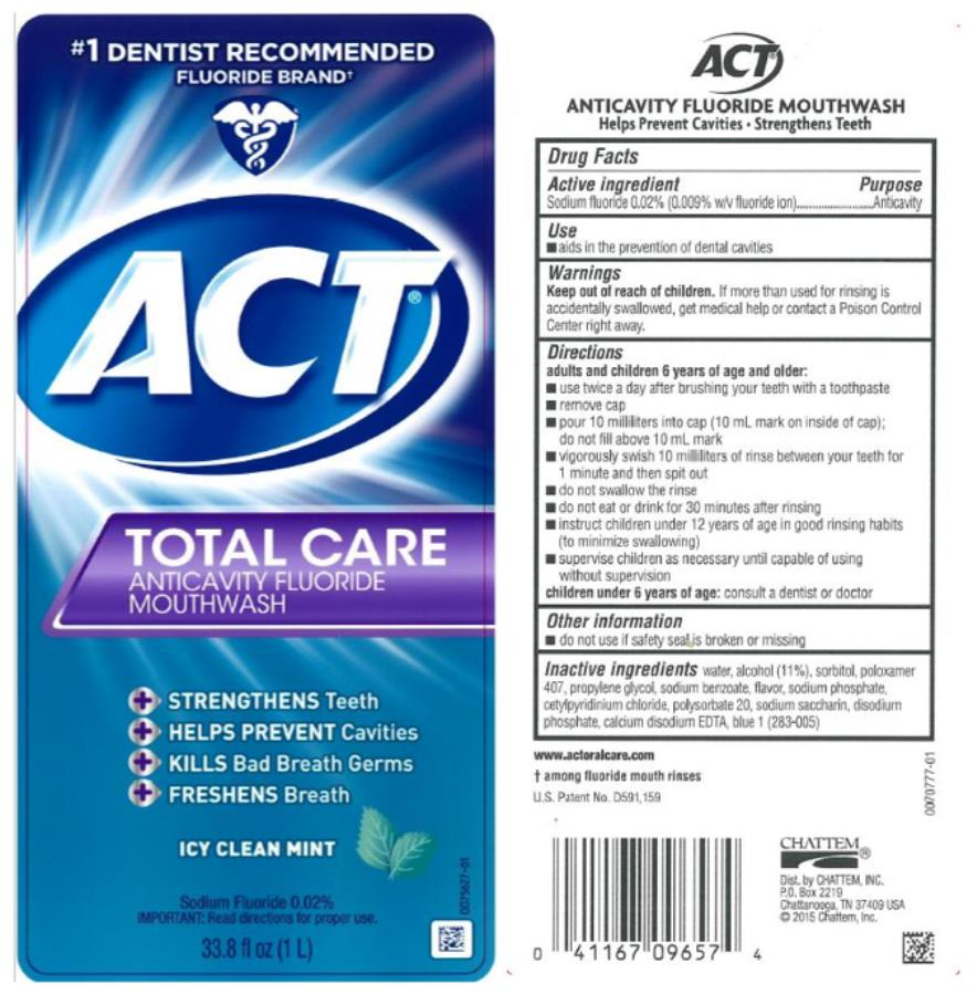 Act Total Care Anticavity Fluoride Icy Clean Mint (Sodium Fluoride) Mouthwash [Chattem, Inc.]