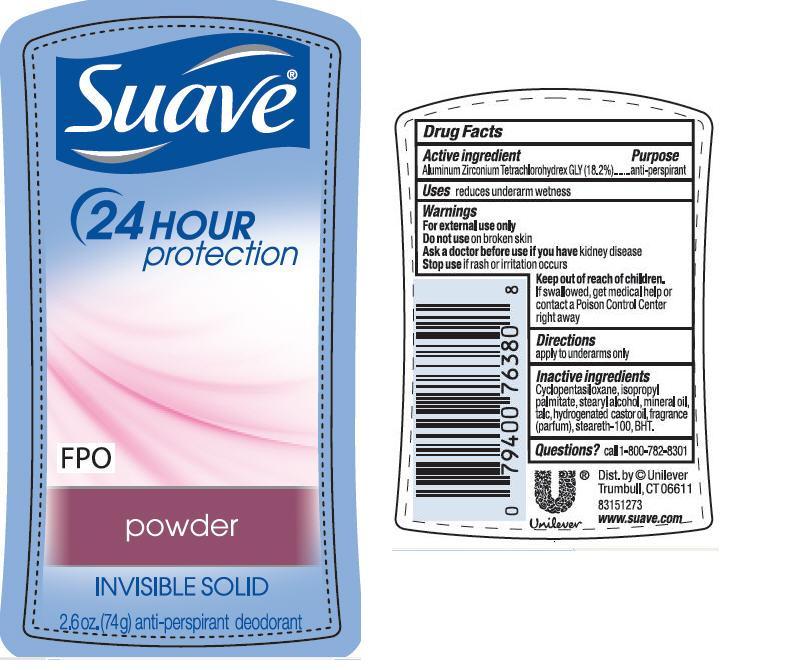 Suave Is Powder Antiperspirant And Deodorant (Aluminum Zirconium Tetrachlorohydrex Gly) Stick [Conopco Inc. D/b/a Unilever]