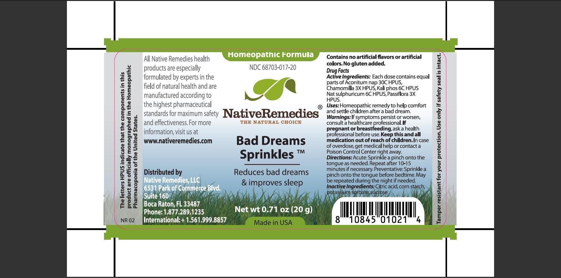 Bad Dream Sprinkles (Aconitum Nap 30c Hpus, Chamomilla 3x Hpus, Kali Phos 6c Hpus, Nat Sulphuricum 6c Hpus, Passiflora 3x Hpus) Granule [Native Remedies, Llc]