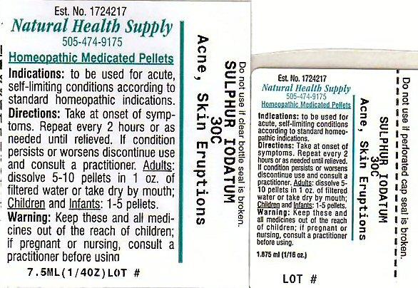 Acne Skin Eruptions (Sulfur Iodide) Pellet [Natural Health Supply]