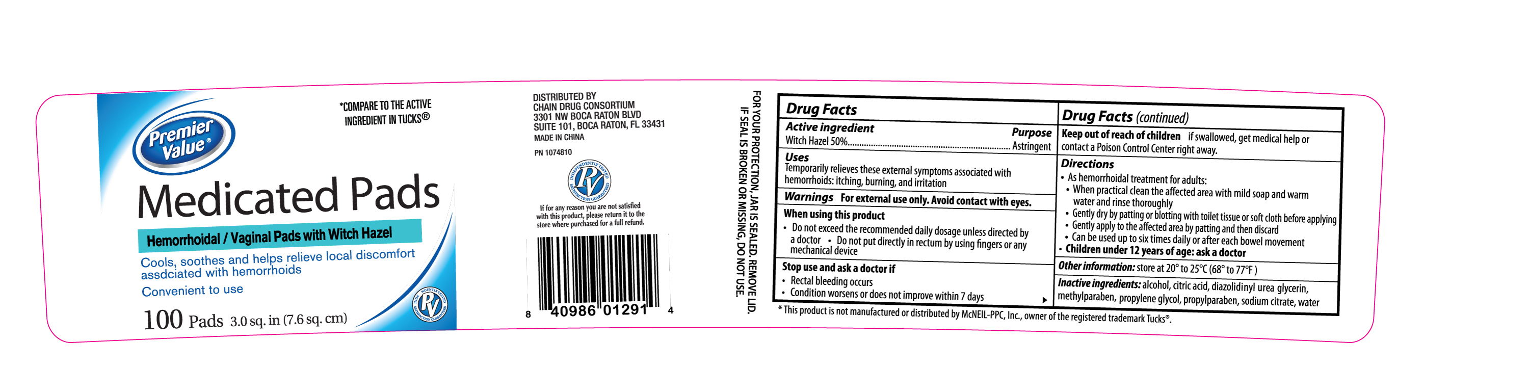 Premier Value Medicated Pads (Witch Hazel) Solution [Chain Drug Consortium, Llc]