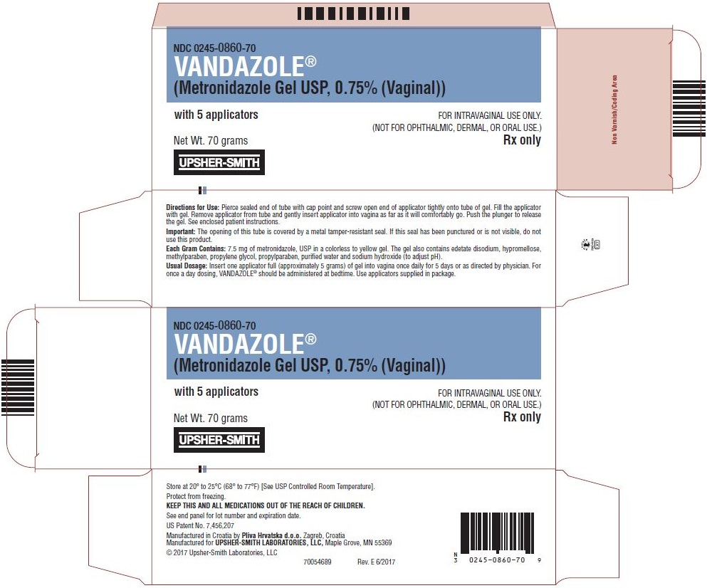Vandazole® (metronidazole gel USP, 0.75% [vaginal]), 70 gram tube with 5 applicators, Carton