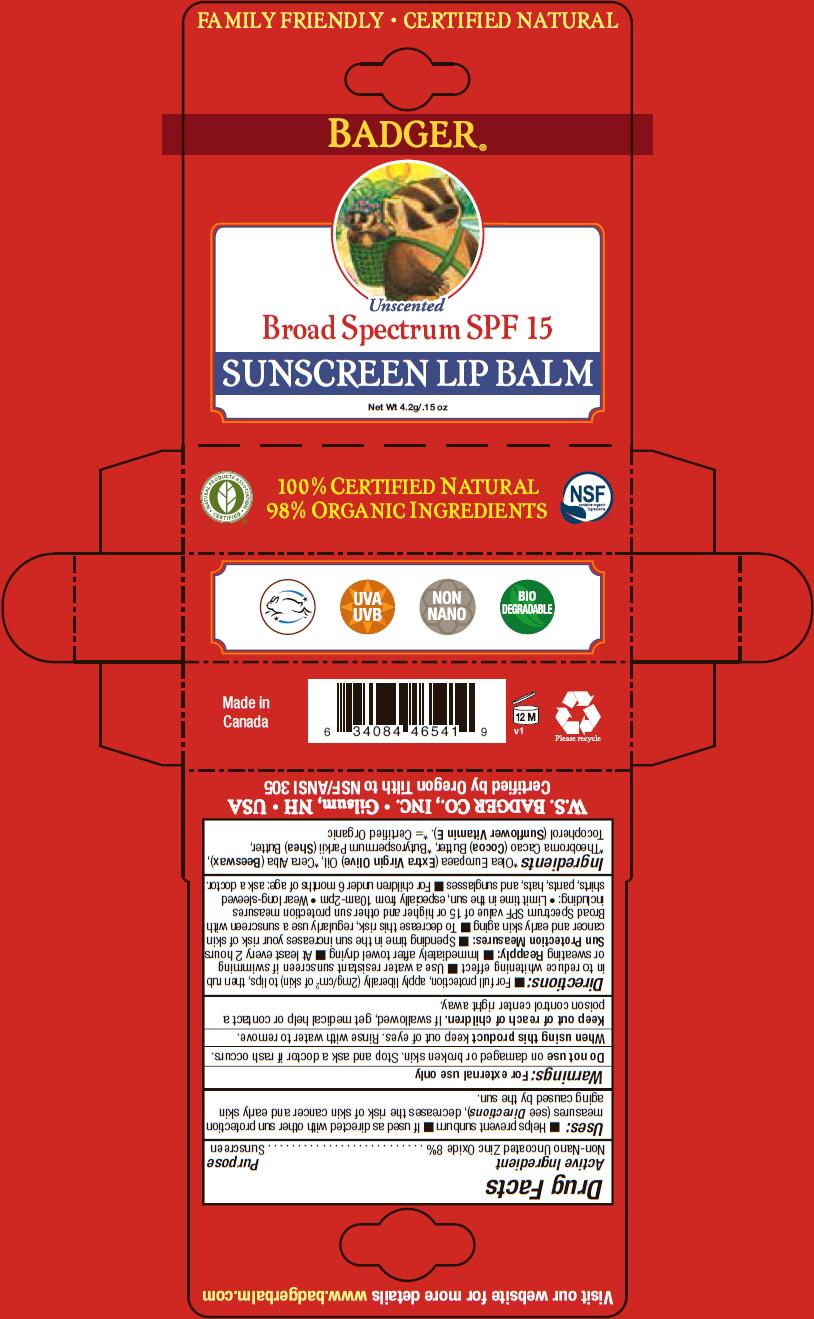 Badger Spf 15 Sunscreen Lip Balm (Zinc Oxide) Stick [Norwood Packaging Ltd.]