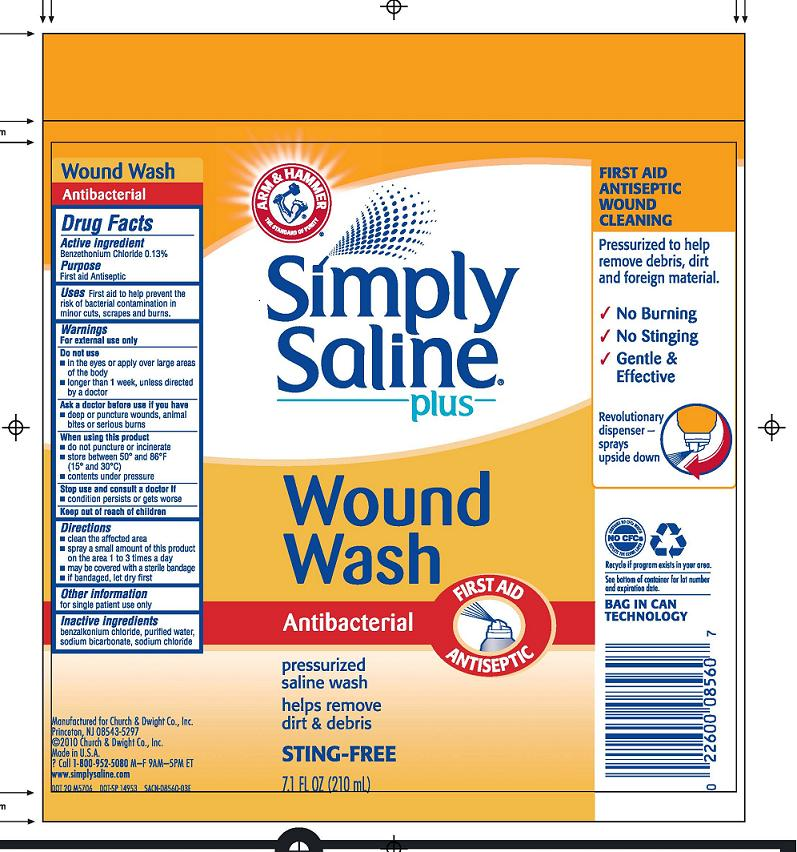 Simply Saline Plus Wound Wash Antibacterial First Aid Antiseptic (Benzethonium Chloride) Spray [Church & Dwight Co., Inc.]