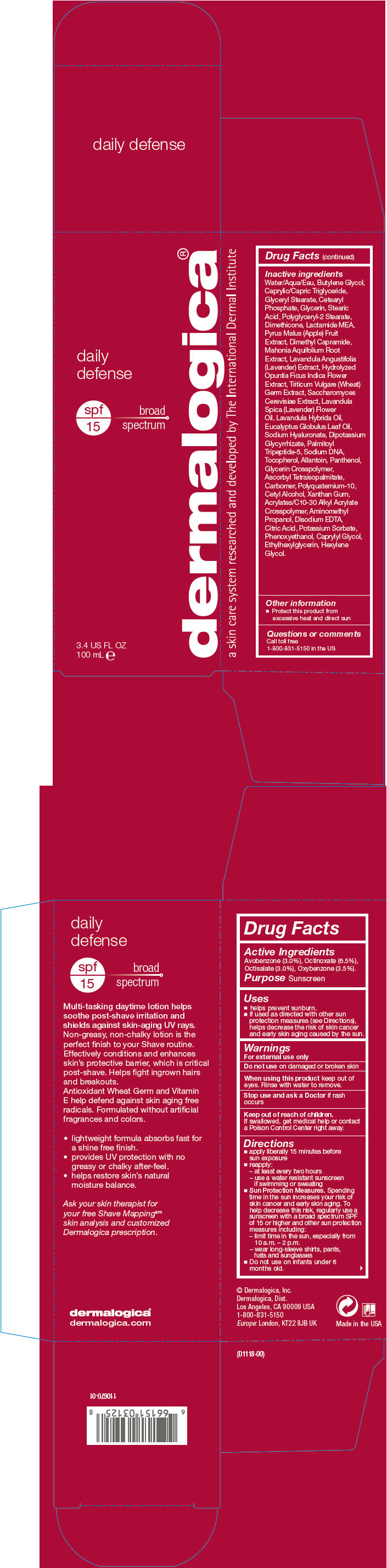 Daily Defense Spf 15 (Avobenzone, Octinoxate, Octisalate, And Oxybenzone) Lotion [Dermalogica, Inc.]