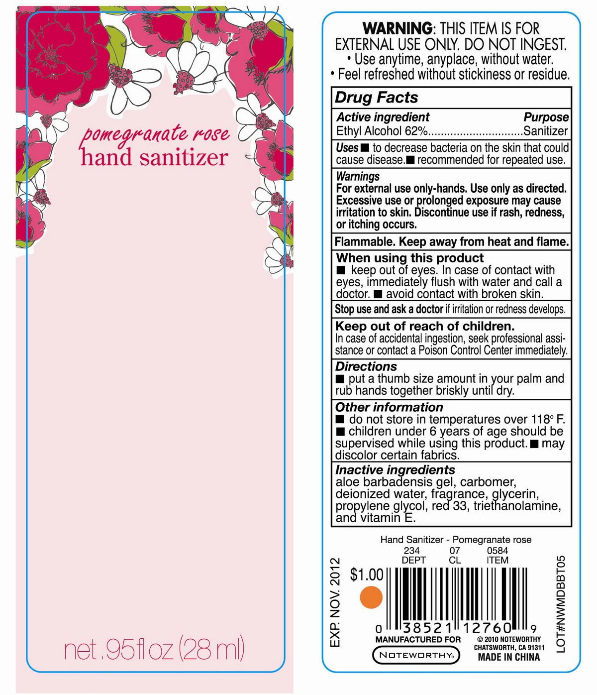 Pomegranate Rose Hand Sanitizer (Alcohol) Liquid [Unique Holding Group Inc]