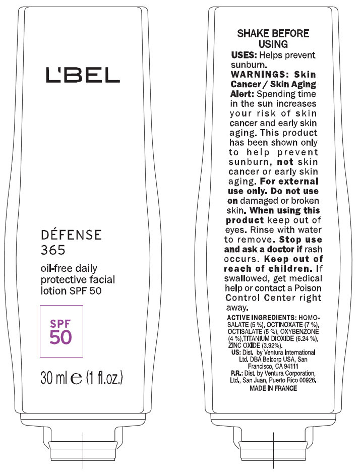 Lbel Defense 365 Daily Protective Facial Spf 50 (Homosalate, Octinoxate, Octisalate, Oxybenzone, Titanium Dioxide, Zinc Oxide) Lotion [Ventura International, Ltd]
