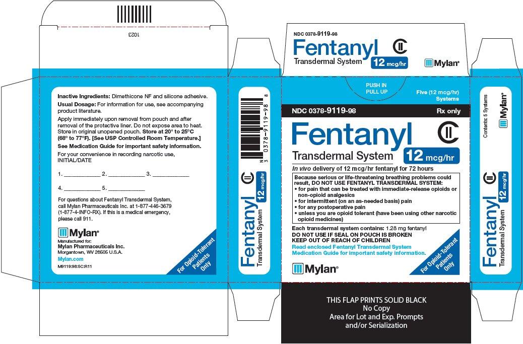 Fentanyl Transdermal System 12 mcg/hr Carton Label