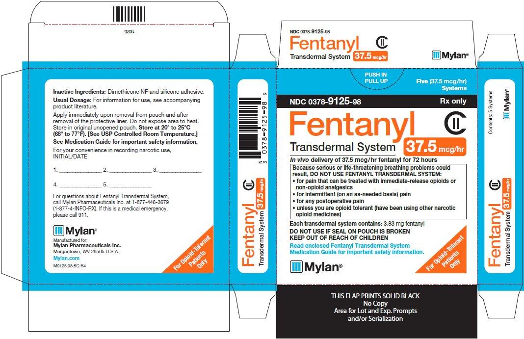 Fentanyl Transdermal System 37.5 mcg/hr Carton Label