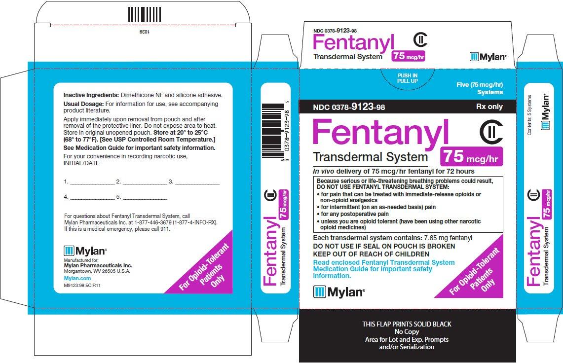 Fentanyl Transdermal System 75 mcg/hr Carton Label