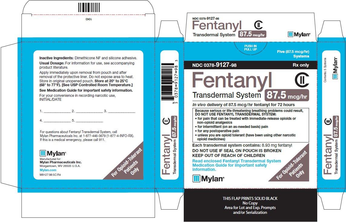 Fentanyl Transdermal System 87.5 mcg/hr Carton Label