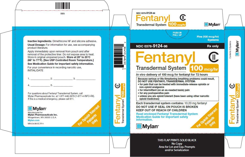 Fentanyl Transdermal System 100 mcg/hr Carton Label