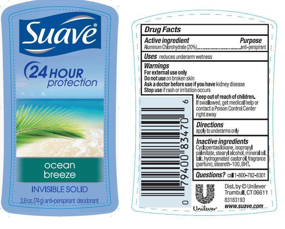 Suave Ocean Breeze Antiperspirant And Deodorant (Aluminum Chlorohydrate) Stick [Conopco Inc. D/b/a Unilever]