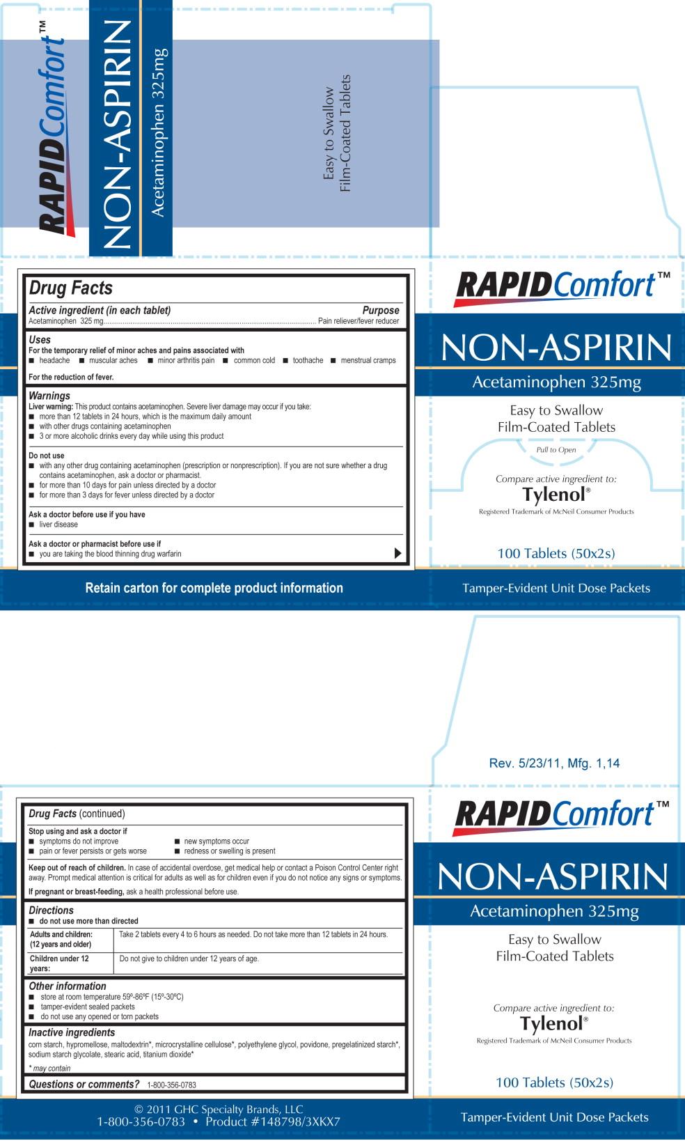 Rapid Comfort Non Aspirin (Acetaminophen) Tablet, Film Coated [Lab Safety Supply, Inc.]