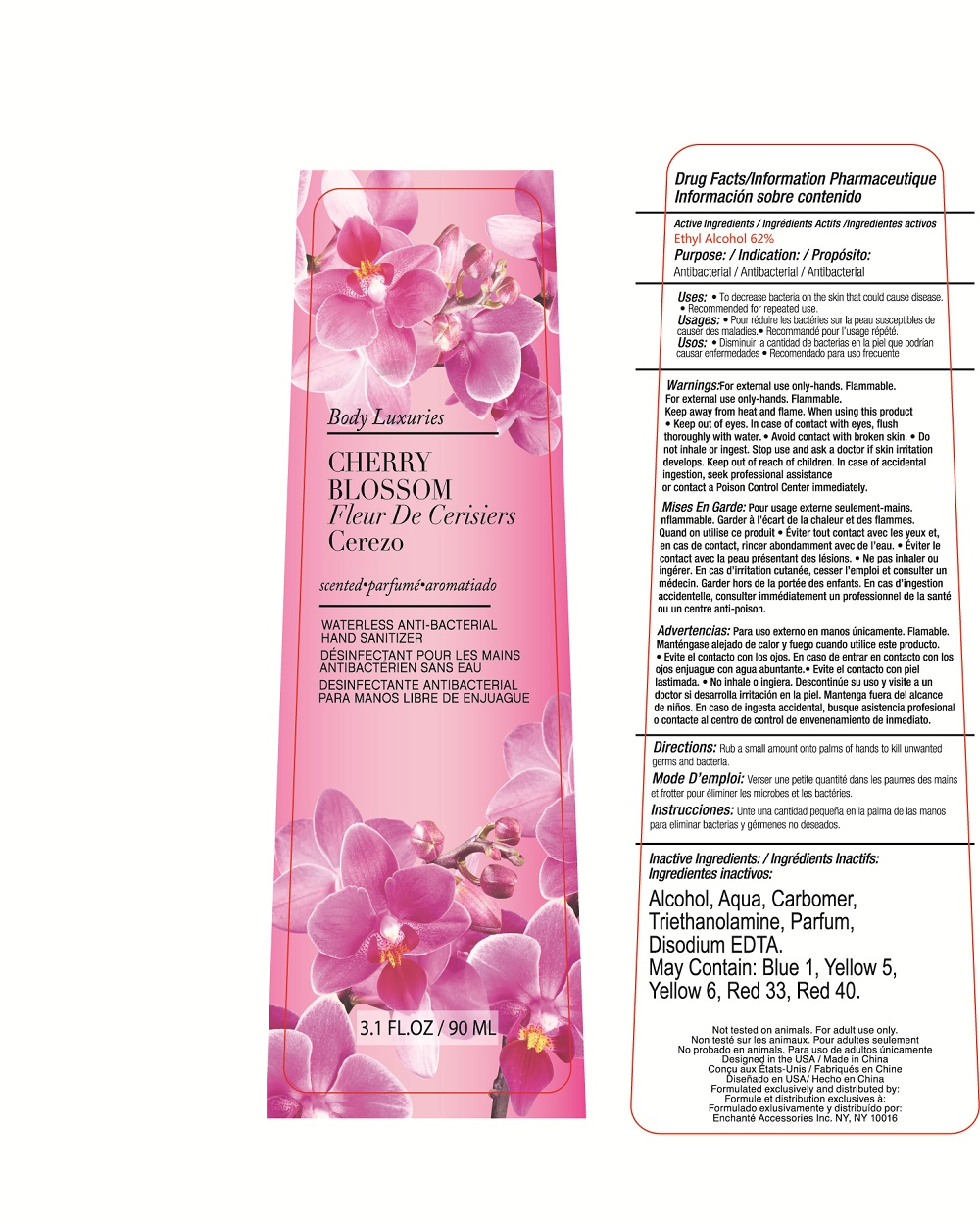 Body Luxuries Cherry Blossom Waterless Anti-bacterial Hand Sanitizer (Alcohol) Liquid [Enchante Accessories Inc. ]