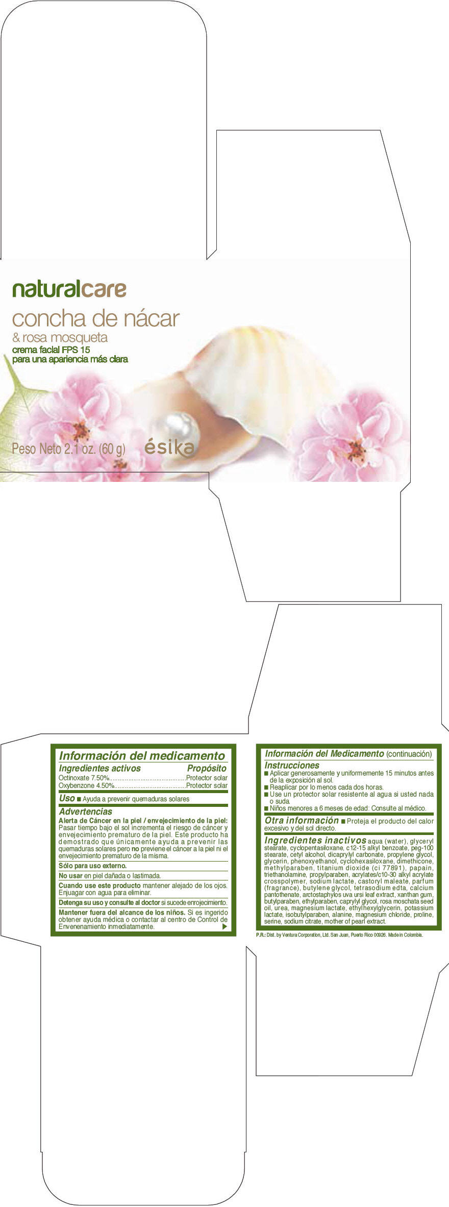 Esika Natural Care Concha De Nacar And Rosa Mosqueta Facial Fps 15 (Octinoxate And Oxybenzone) Cream [Ventura Corporation Ltd]