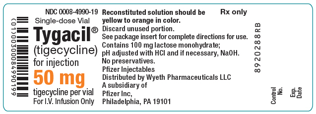 Tygacil (Tigecycline) Injection, Powder, Lyophilized, For Solution [Wyeth Pharmaceuticals Inc., A Subsidiary Of Pfizer Inc.]