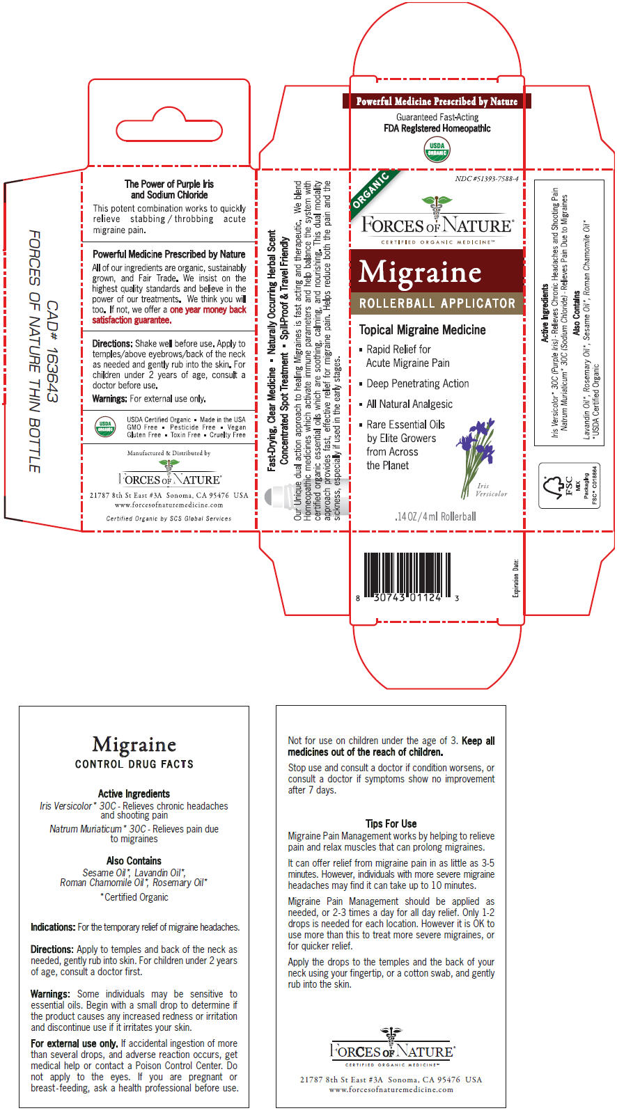 Migraine Pain Management (Iris Versicolor Root And Sodium Chloride) Solution/ Drops [Forces Of Nature]