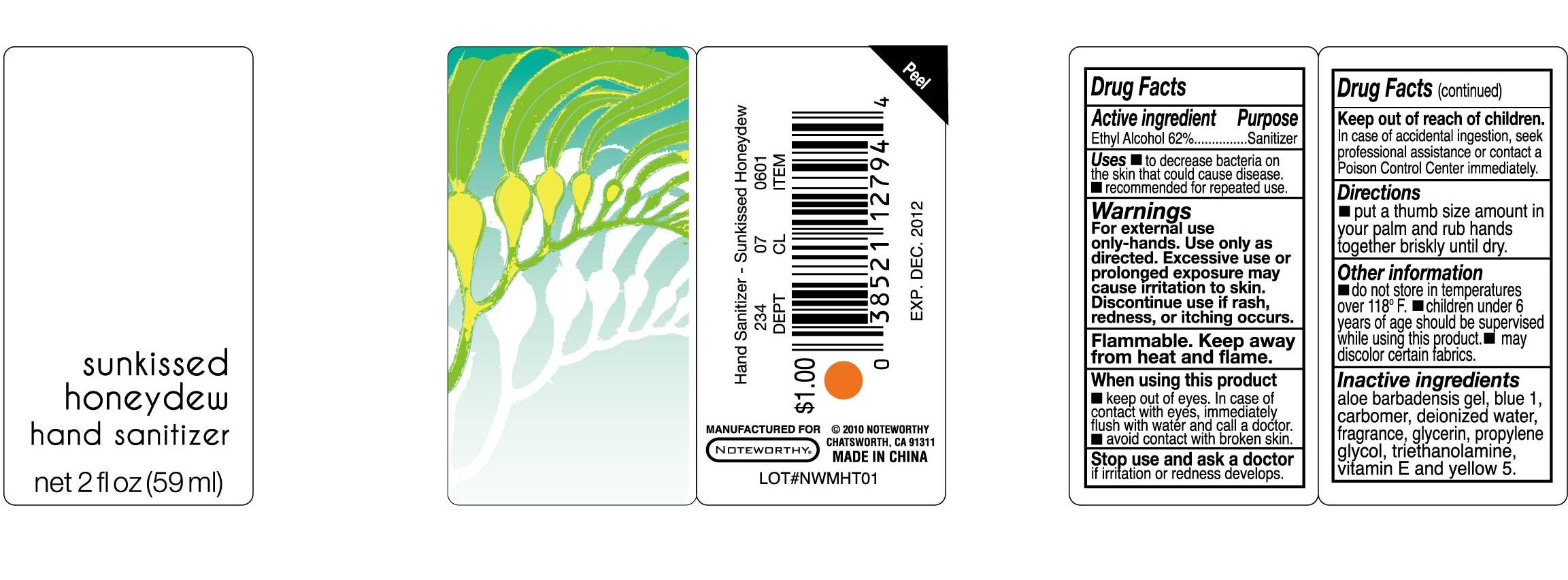Sunkissed Honeydew Hand Sanitizer (Alcohol) Liquid [Unique Holding Group Inc]