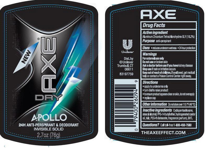 Axe Dry Apollo Antiperspirant Deodorant (Aluminum Zirconium Tetrachlorohydrex Gly) Stick [Conopco Inc. D/b/a Unilever]