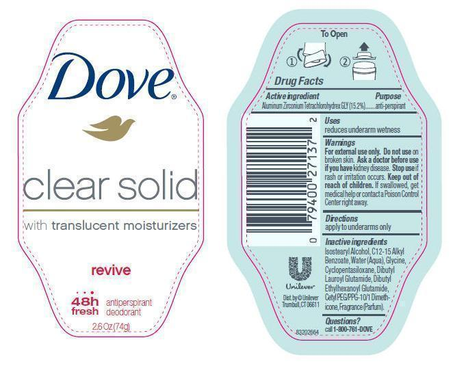 Dove Clear Solid Revive Antiperspirant And Deodorant (Aluminum Zirconium Tetrachlorohydrex Gly) Stick [Conopco Inc. D/b/a Unilever]