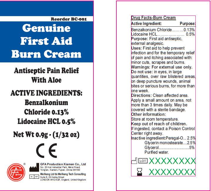 Genuine First Aid Burn Antiseptic Pain Relief With Aloe (Benzalkonium Chloride, Lidocaine) Cream [Genuine First Aid]