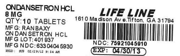 Ondansetron HCl 8 mg Tablet Label