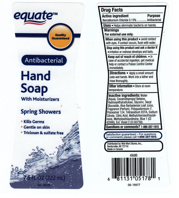 Equate Antibacterial Hand With Moisturizers Spring Showers (Benzalkonium Chloride) Liquid [Wal-mart Stores Inc]