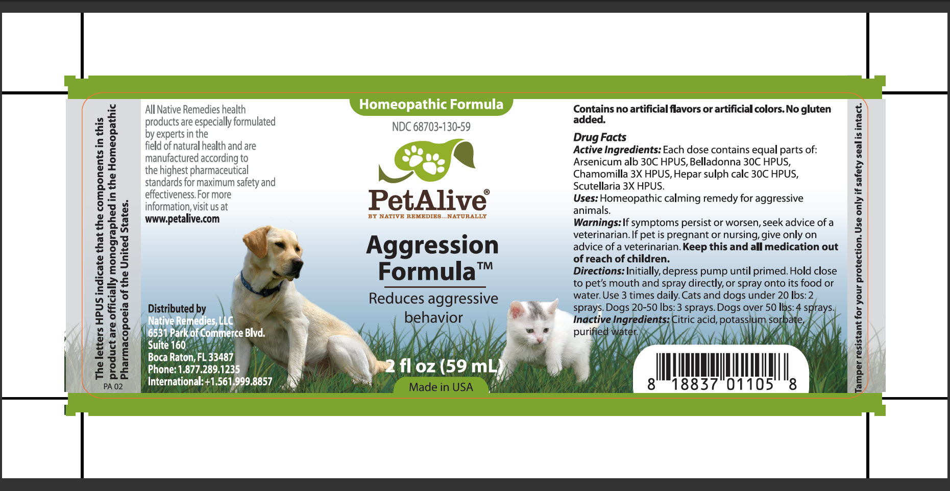 Aggression Formula (Arsenicum Alb, Belladona, Chamomilla, Hepar Sulph Calc, Scutellaria) Spray [Native Remedies, Llc]
