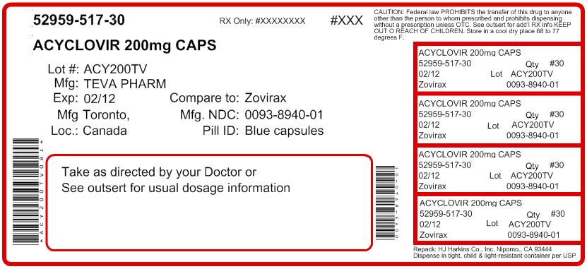 Acyclovir Capsules  200 mg 100s Label
