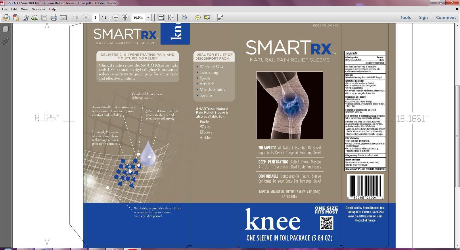 Smartrx Natural Pain Relief Sleeve Knee (Methyl Salicylate) Liquid [Niche Brands, Inc.]
