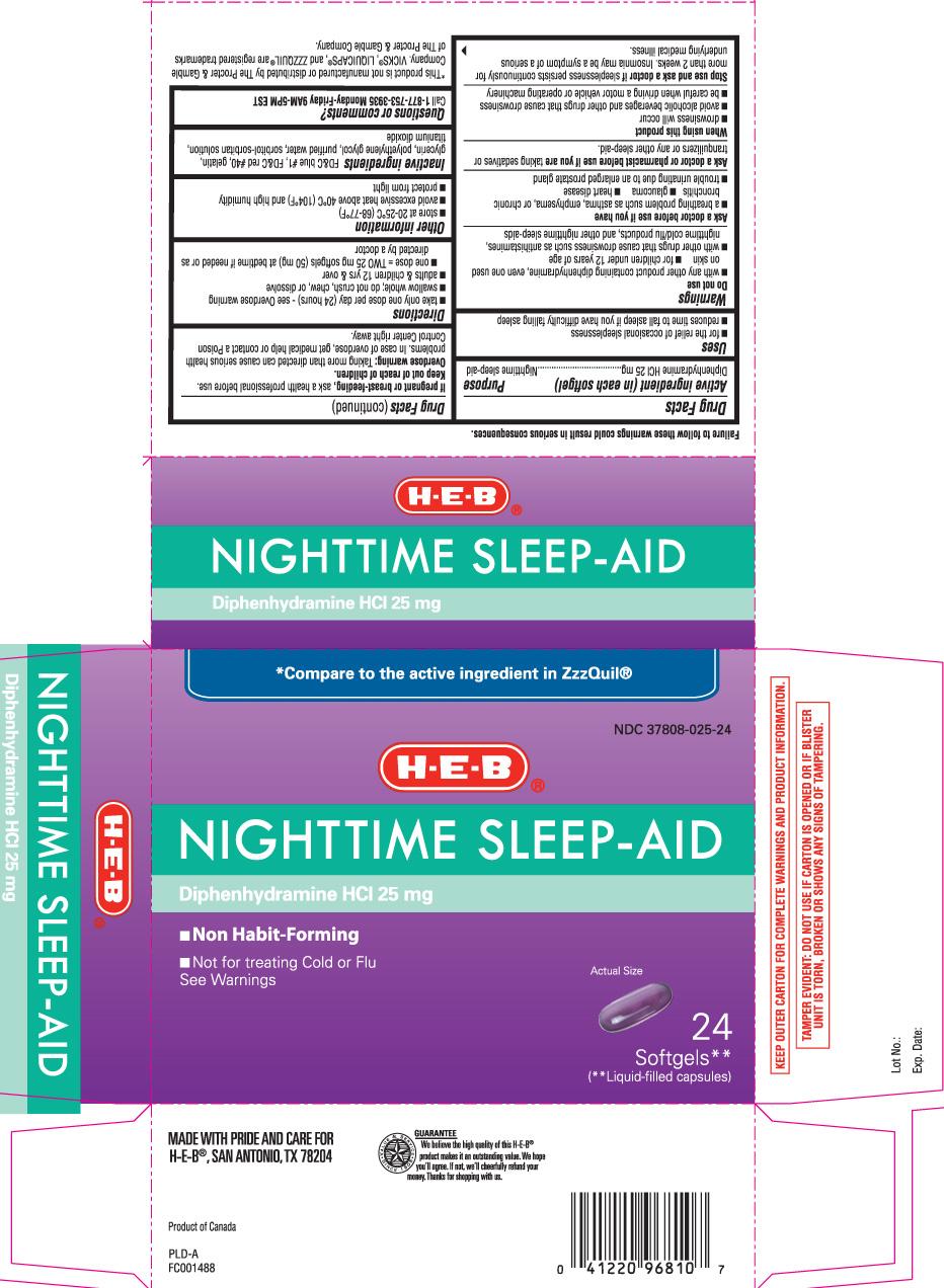 Nighttime Sleep Aid (Diphenhydramine Hydrochloride) Capsule, Liquid Filled [H E B]
