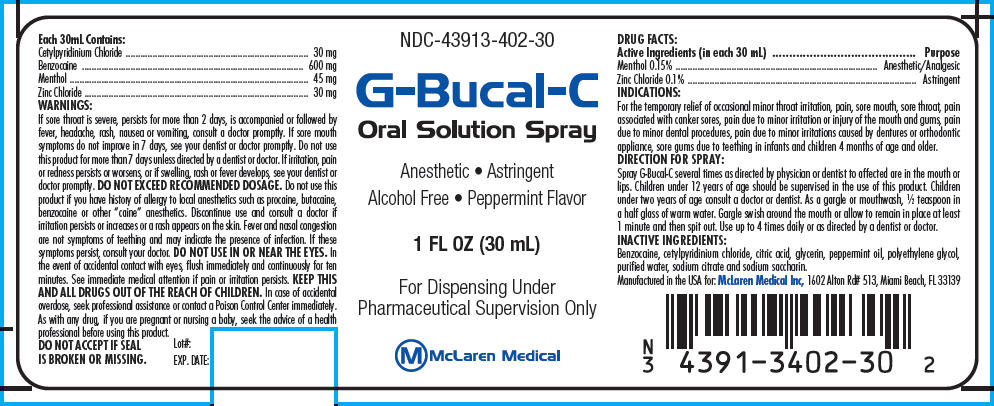 G-bucal-c (Menthol, Unspecified Form And Zinc Chloride) Spray [Mclaren Medical Inc]