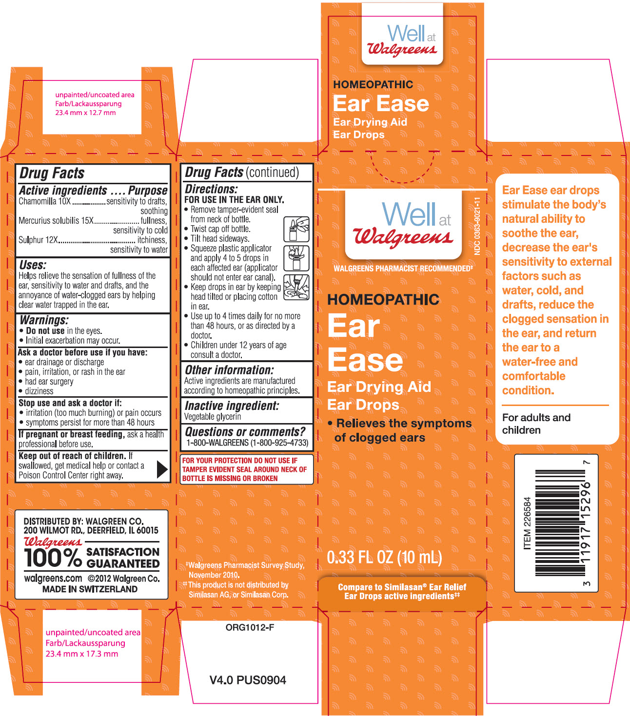 Ear Ease (Chamomile And Mercurius Solubilis And Sulphur) Solution [Walgreen Company]