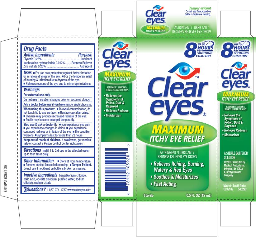 Clear Eyes Maximum Itchy Eye Relief (Glycerin And Naphazoline Hydrochloride And Zinc Sulfate) Liquid [Prestige Brands Holdings, Inc.]