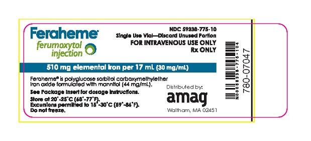 Package Label - Principal Display Panel – 17 mL Vial, Feraheme Injection