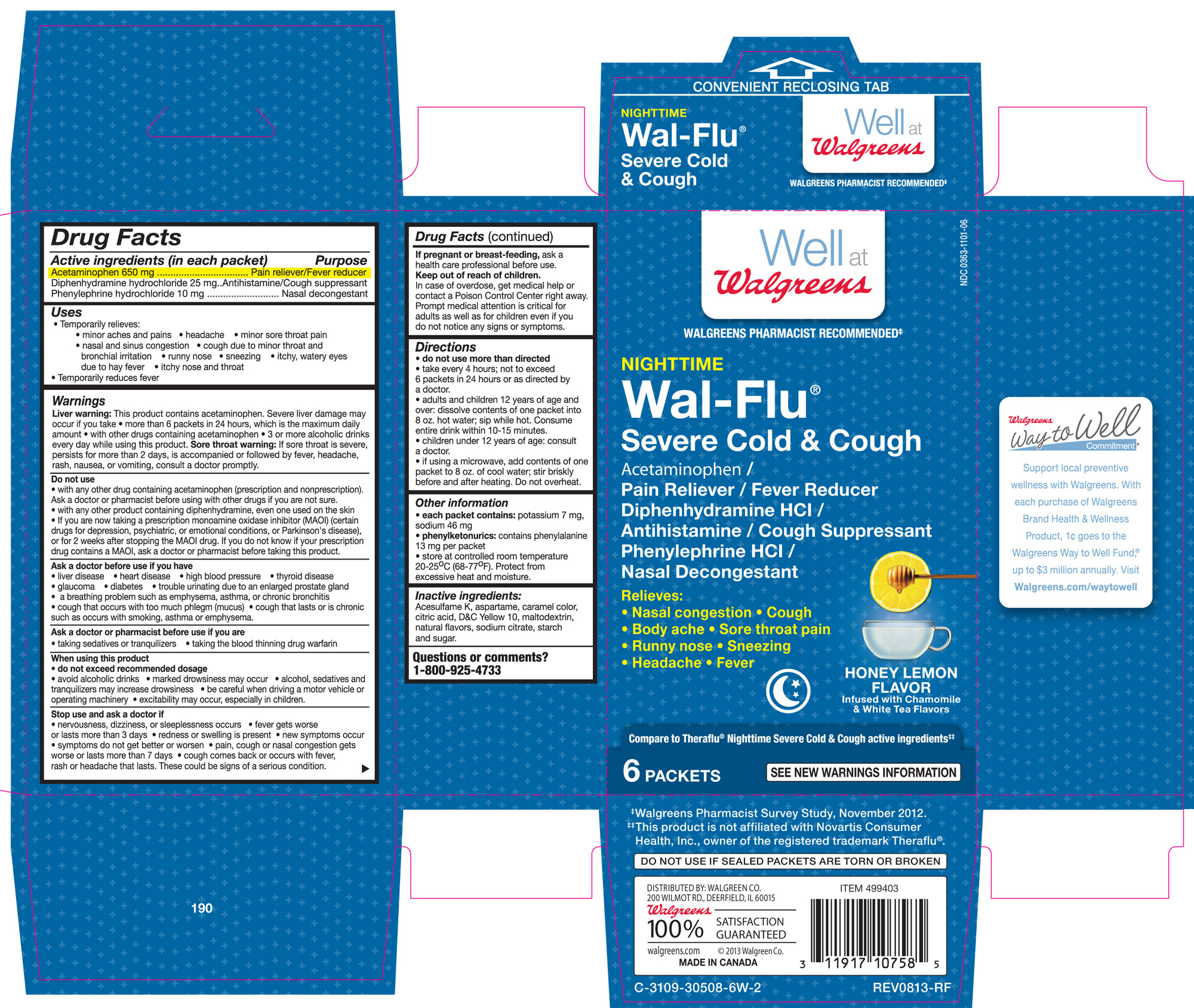 Walgreens Night Time Wal-flu Severe Cold And Cough Honey Lemon Flavor Infused With Chamomile And White Tea Flavors (Acetaminophen, Diphenhydramine Hcl, And Phenylephrine Hcl.) Granule, For Solution [Walgreen Co.]