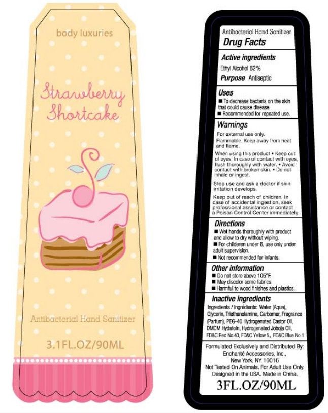 Body Luxuries Strawberry Shortcake Antibacterial Hand Sanitizer (Alcohol) Liquid [Enchante Accessories, Inc.]