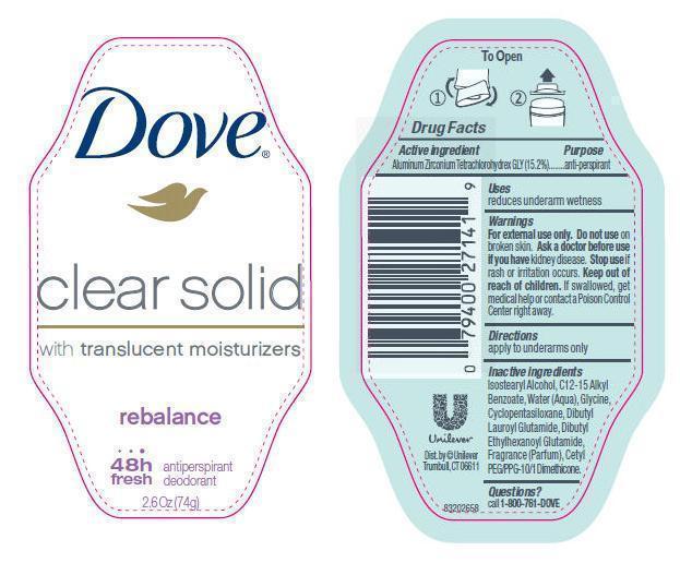 Dove Clear Solid Rebalance Antiperspirant And Deodorant (Aluminum Zirconium Tetrachlorohydrex Gly) Stick [Conopco Inc. D/b/a Unilever]