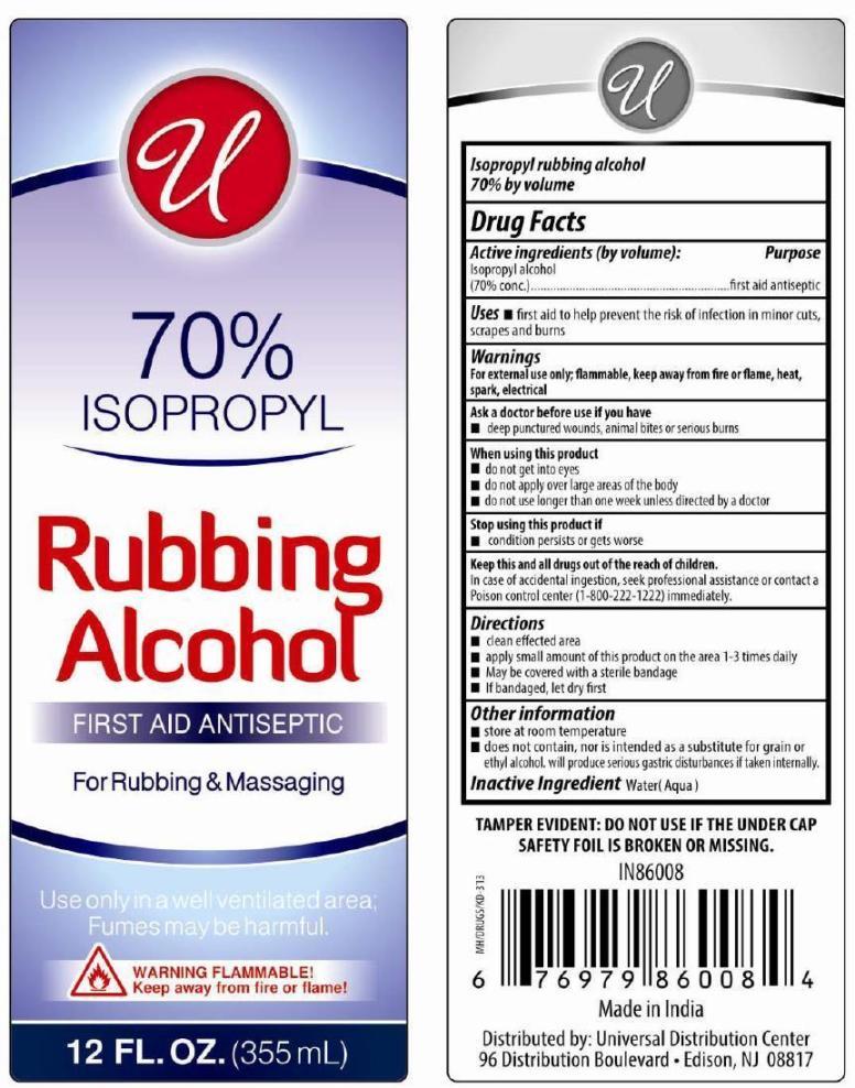 Isopropyl Rubbing Alcohol 70% (Isopropyl Alcohol) Liquid [ Universal Distribution Center Llc]